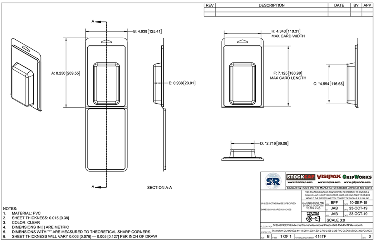 414TF - Stock Clamshell Packaging Technical Drawing
