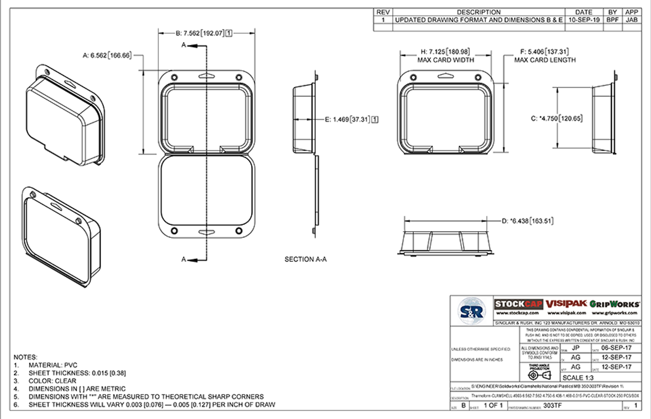303TF - Stock Clamshell Packaging Technical Drawing
