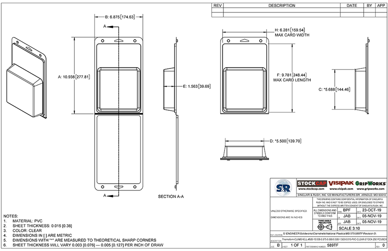 589TF - Stock Clamshell Packaging Technical Drawing