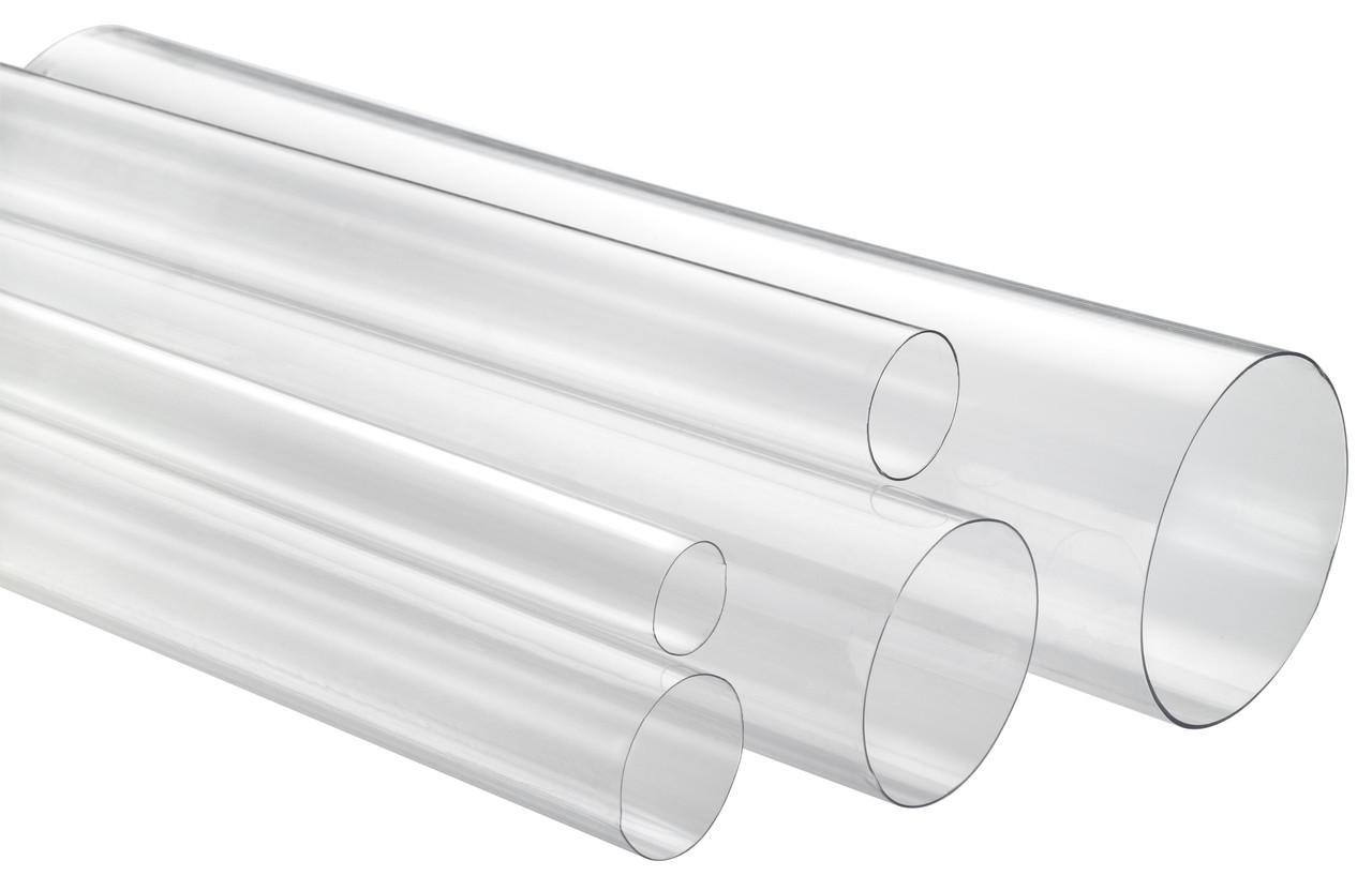 """1"""" x 4' Thin Wall Round Clear Plastic Tube"""