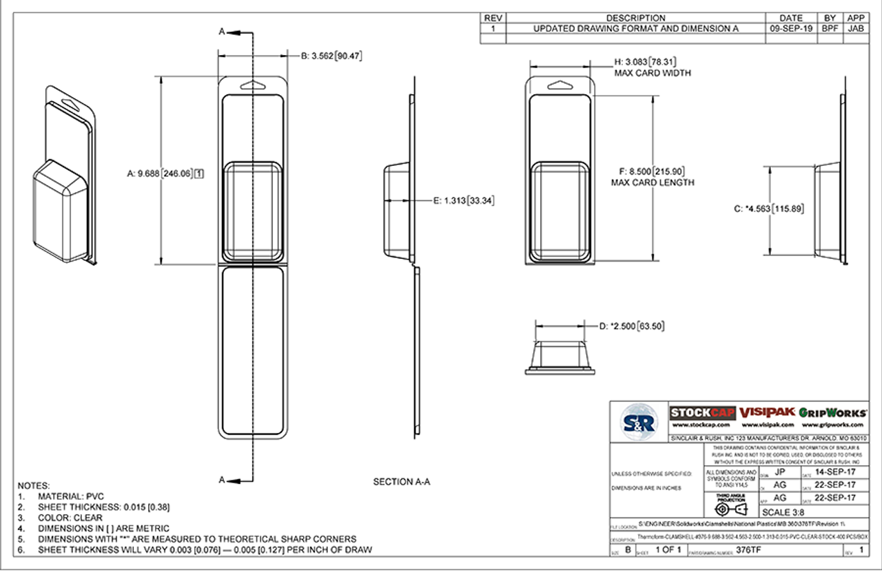 376TF - Stock Clamshell Packaging Technical Drawing