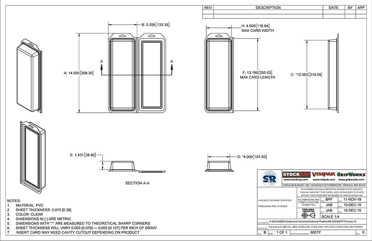 600TF - Stock Clamshell Packaging Technical Drawing