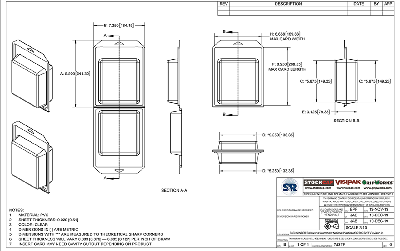 752TF - Stock Clamshell Packaging Technical Drawing