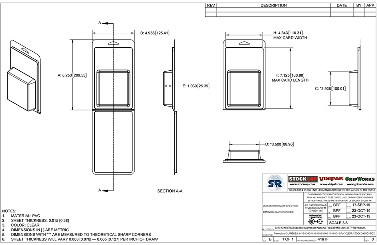 416TF - Stock Clamshell Packaging Technical Drawing