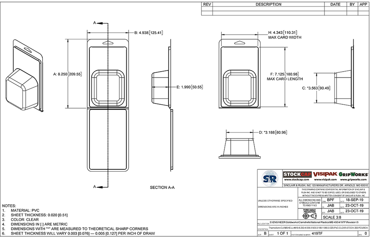 419TF - Stock Clamshell Packaging Technical Drawing