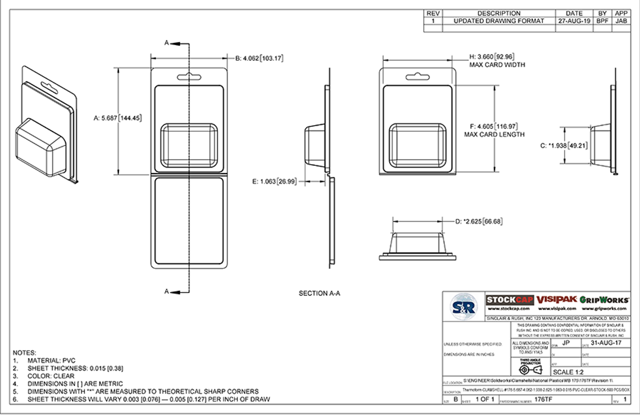 176TF - Stock Clamshell Packaging Technical Drawing