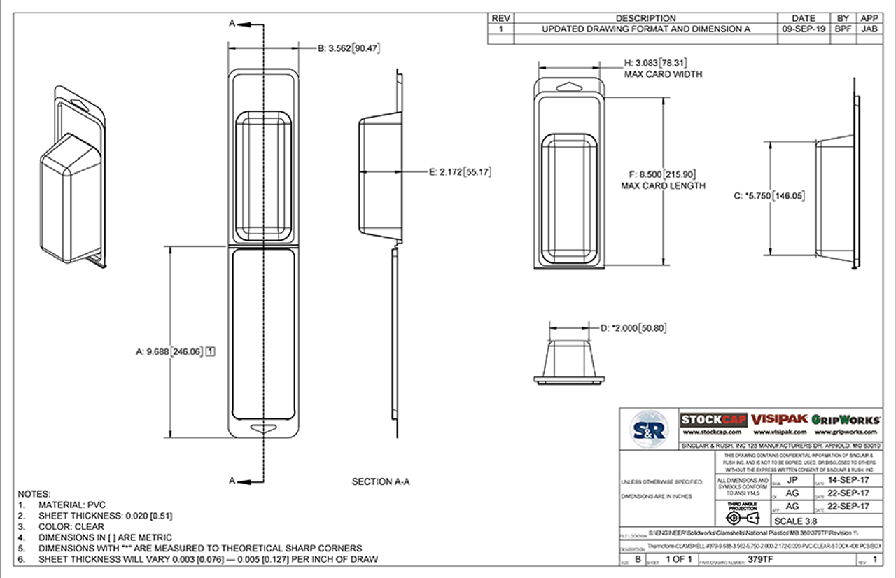 379TF - Stock Clamshell Packaging Technical Drawing