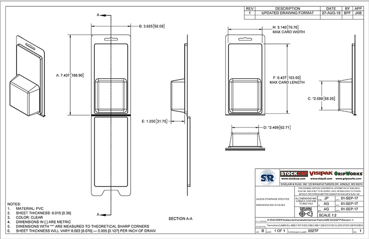 202TF - Stock Clamshell Packaging Technical Drawing