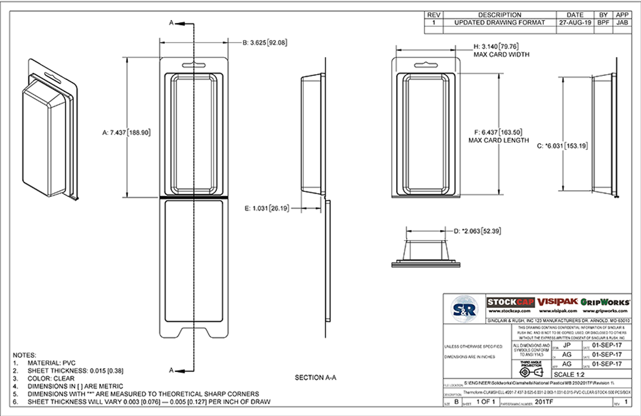 201TF - Stock Clamshell Packaging Technical Drawing