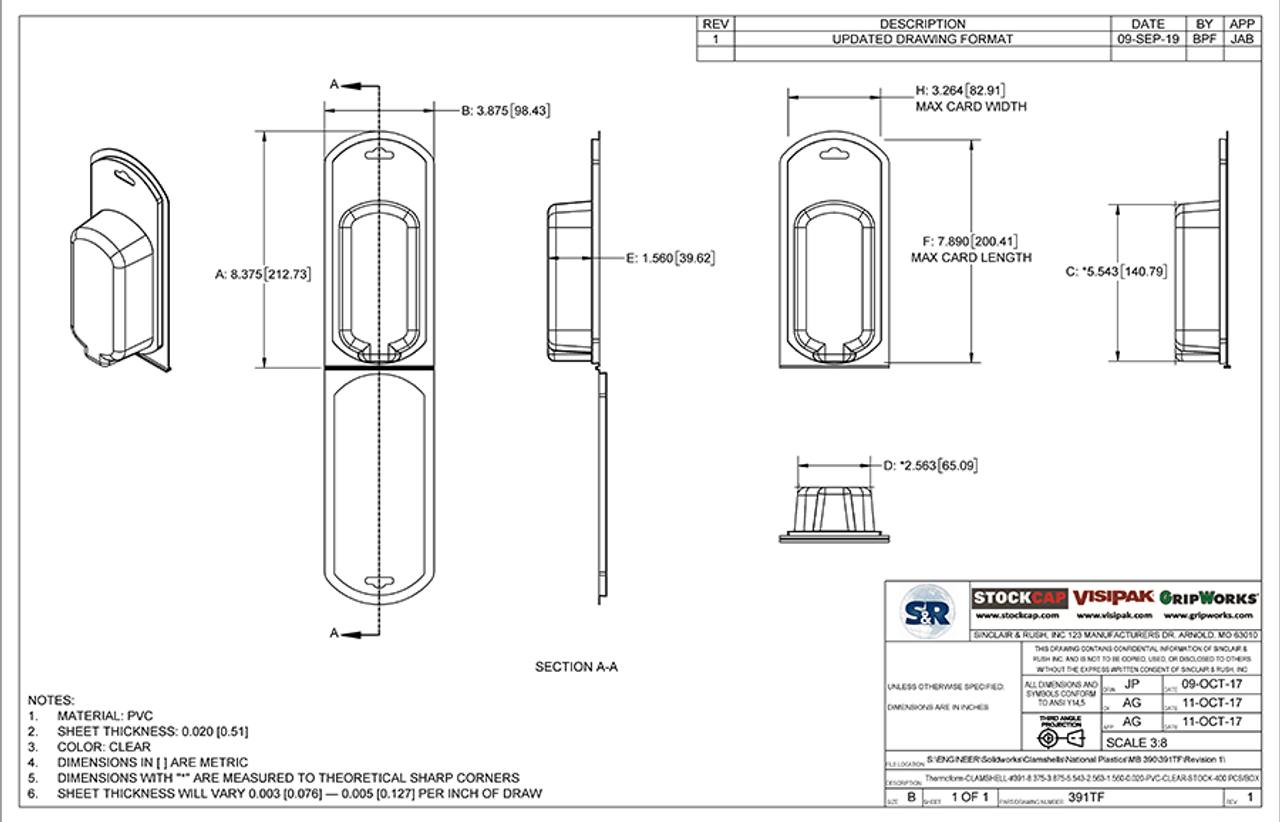 391TF - Stock Clamshell Packaging Technical Drawing