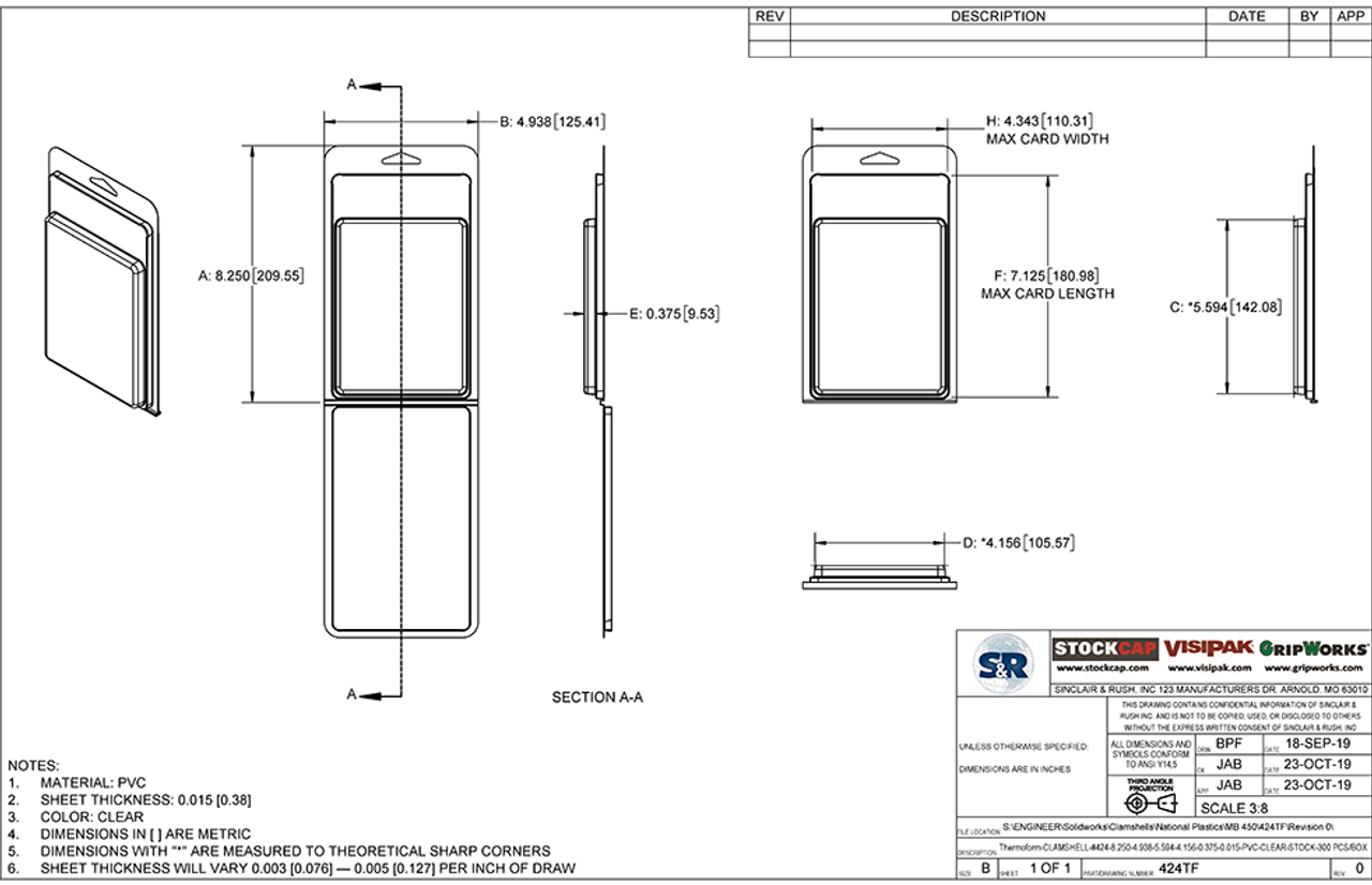 424TF - Stock Clamshell Packaging Technical Drawing