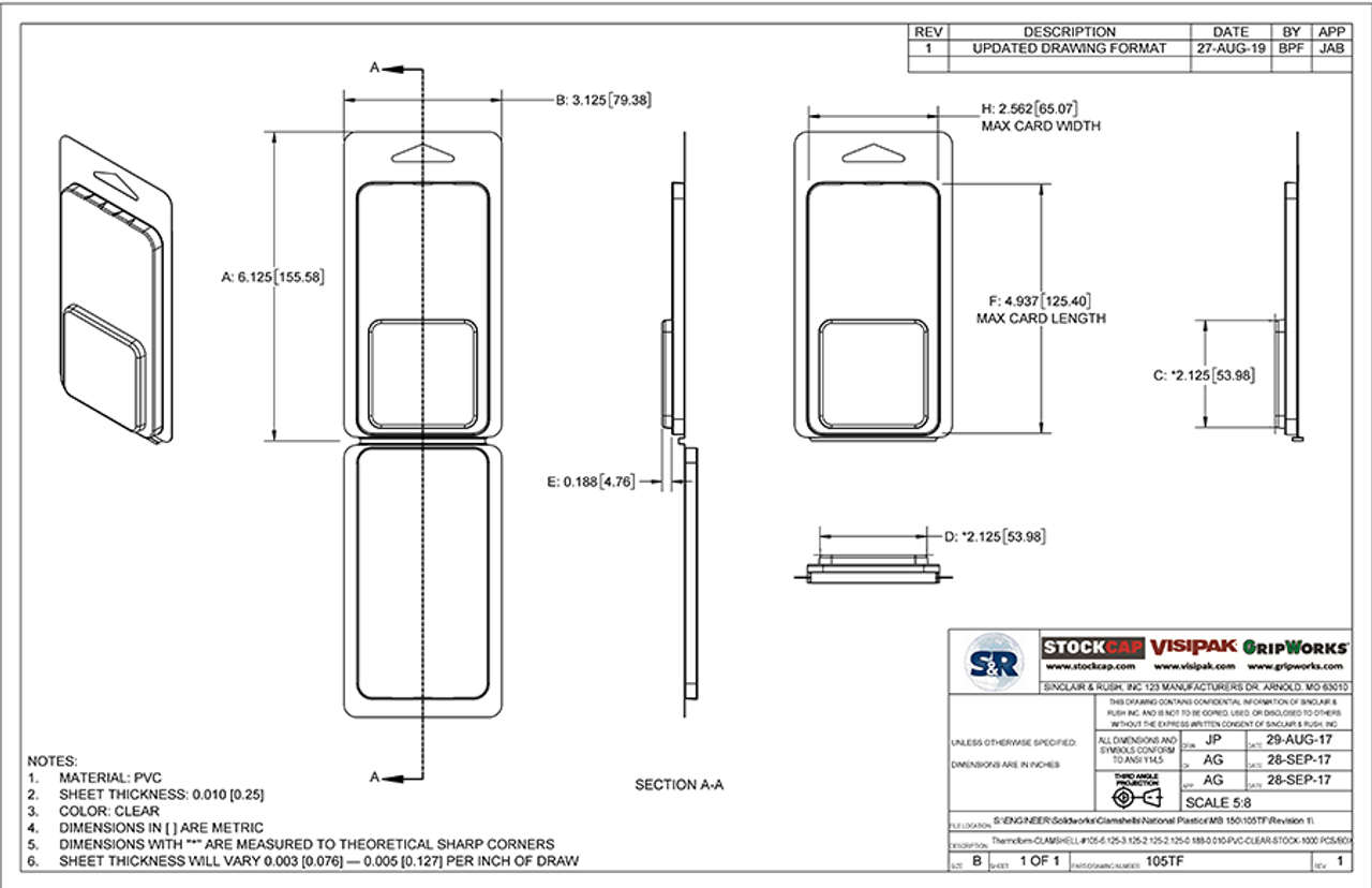105TF - Stock Clamshell Packaging Technical Drawing