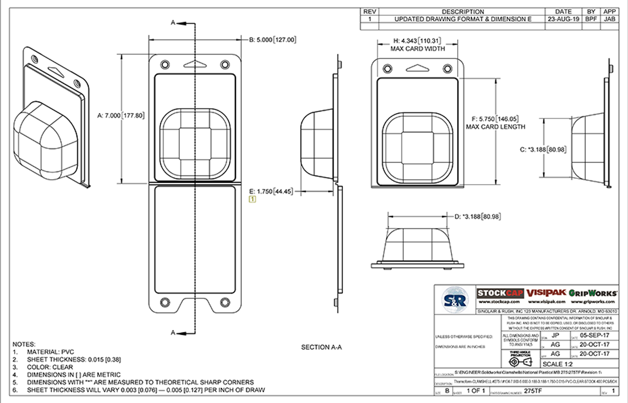 275TF - Stock Clamshell Technical Drawing