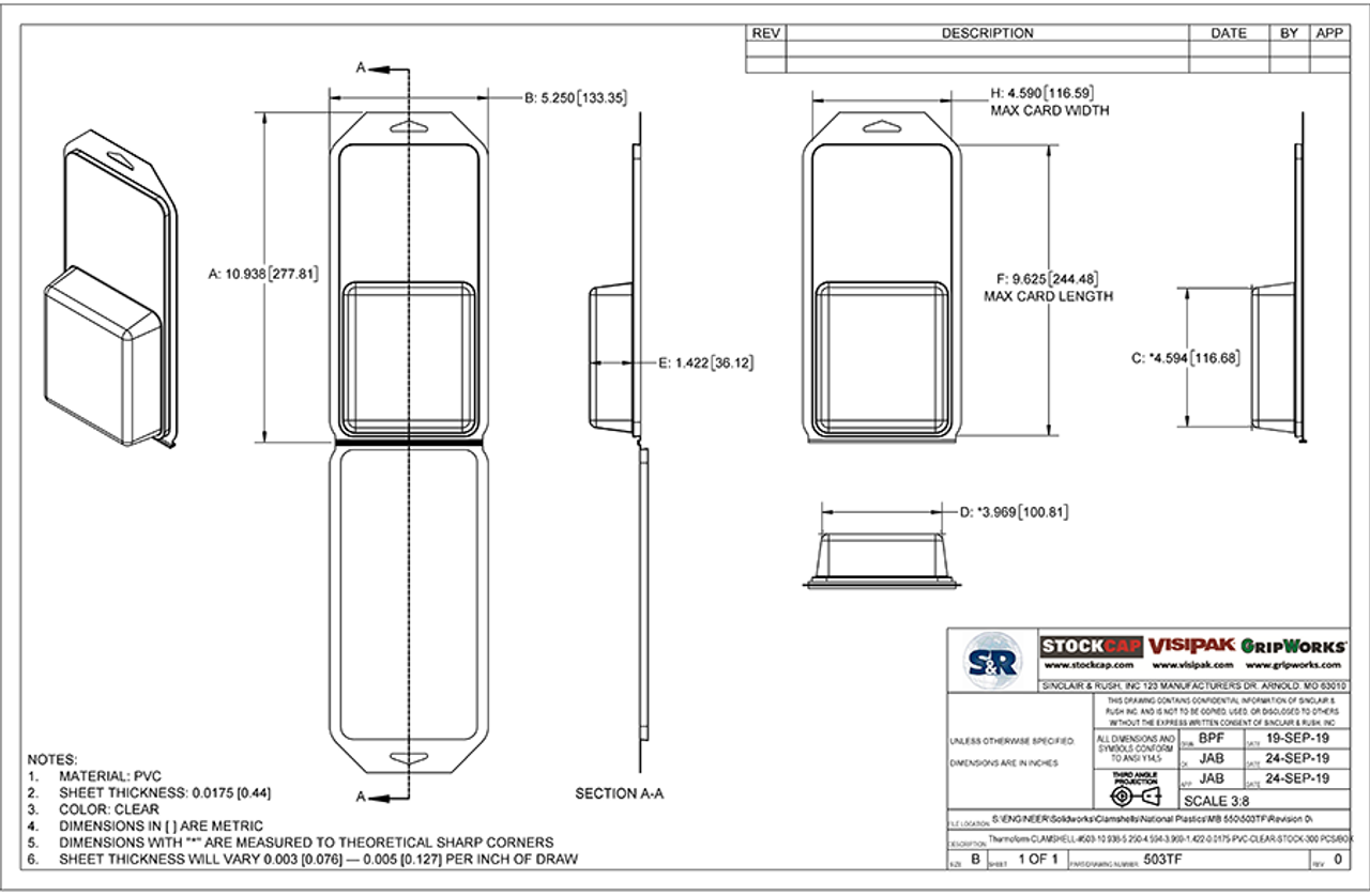 503TF - Stock Clamshell Packaging Technical Drawing
