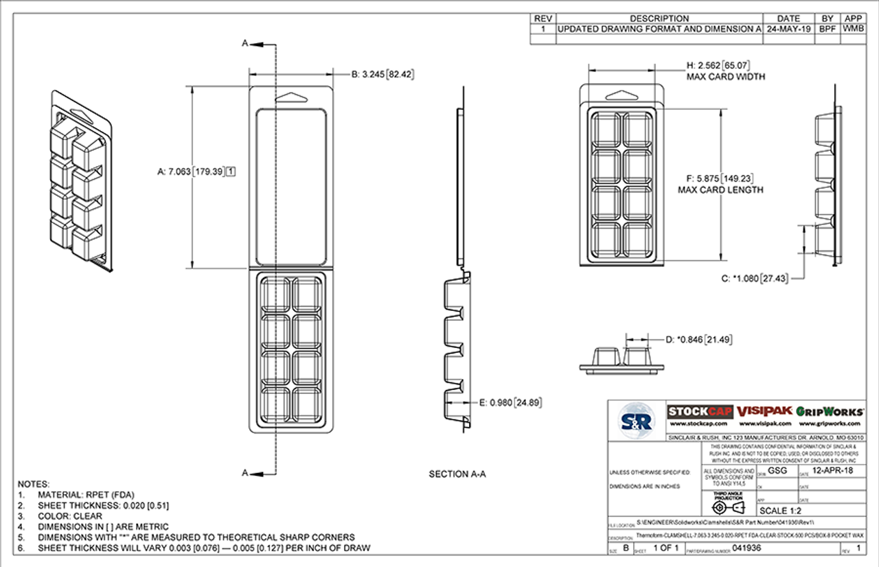 8-pocket Clamshell Packaging Technical Drawing