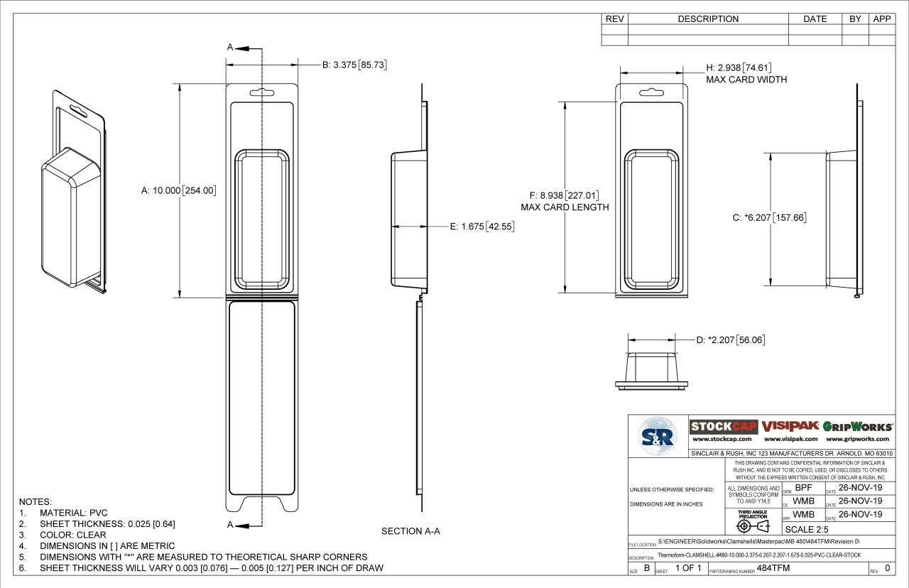 484TFM Stock Clamshell Technical Drawing