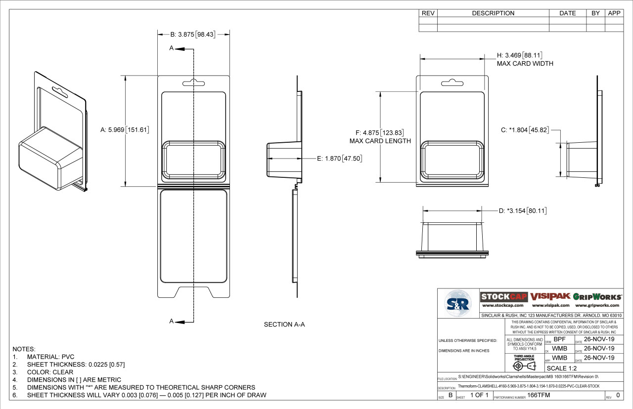166TFM Stock Clamshell Technical Drawing