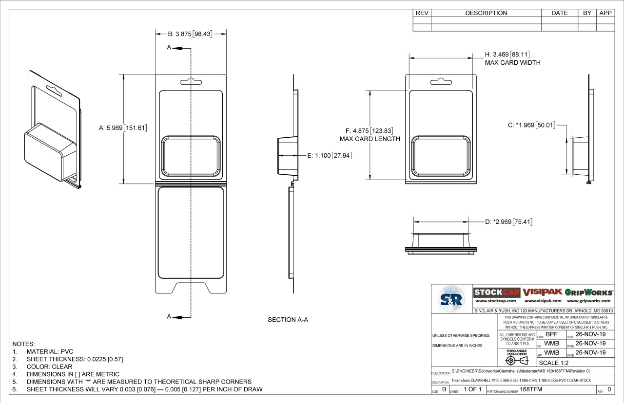 168TFM Stock Clamshell Technical Drawing