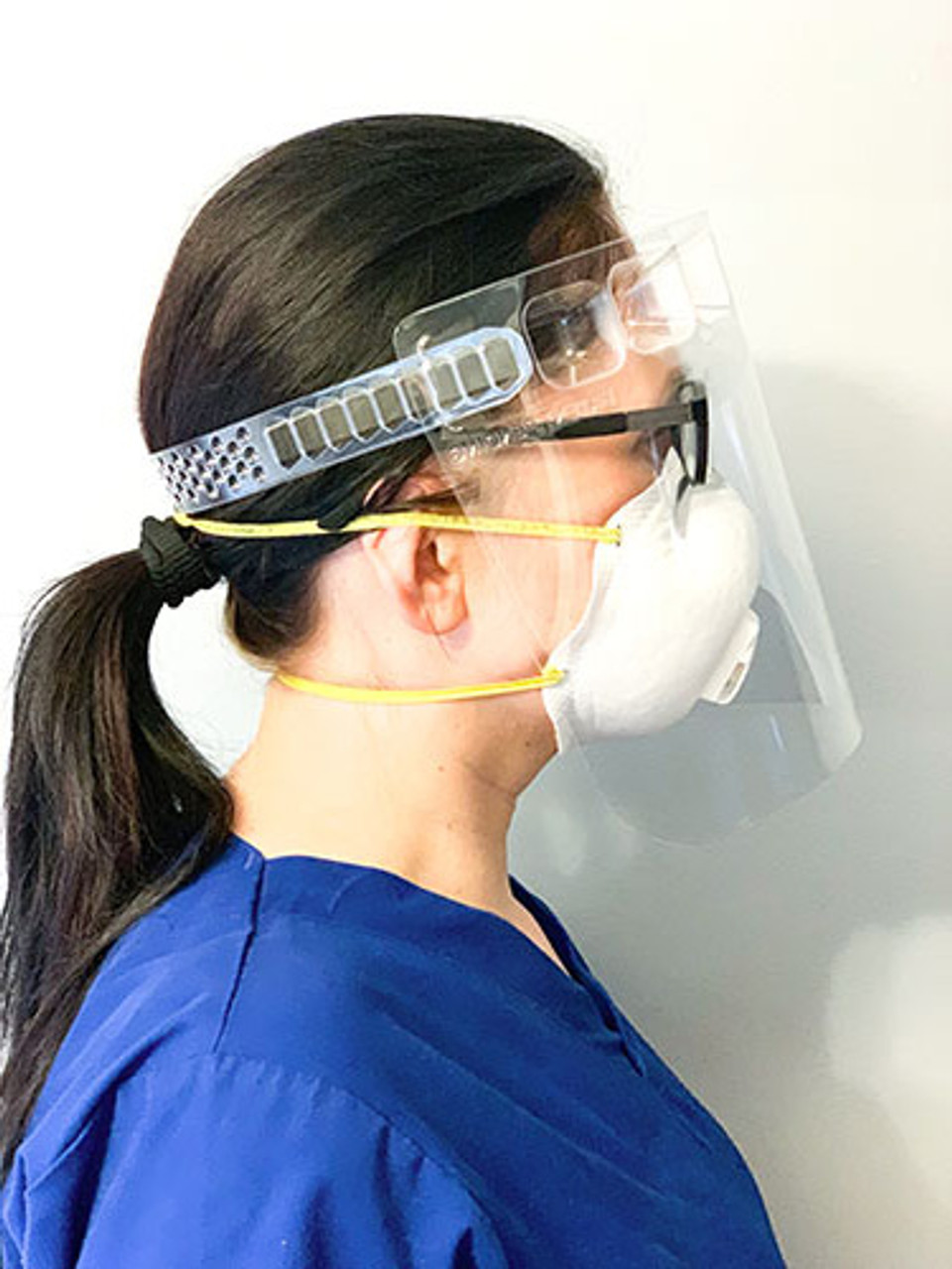 VisiGuard® 3.0 Face Shield With ZipStrap® 100-Pack side view with mask and glasses