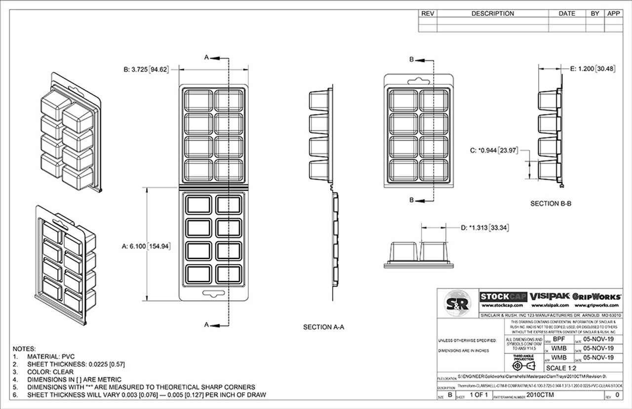 8-Compartment ClamTray Technical Drawing