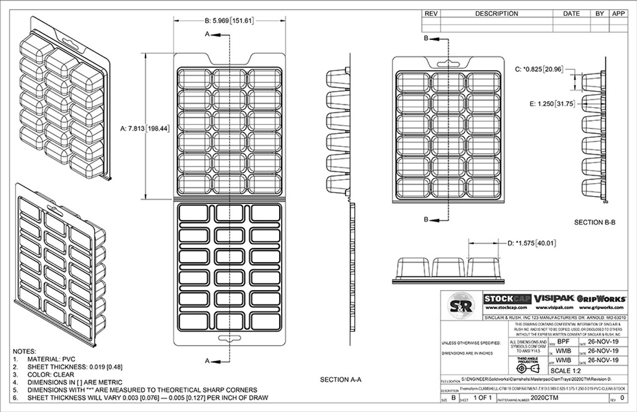 18 Compartment ClamTray Technical Drawing