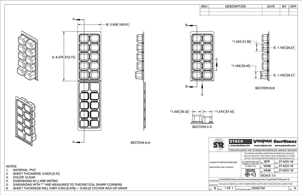 10 Compartment ClamTray Technical Drawing