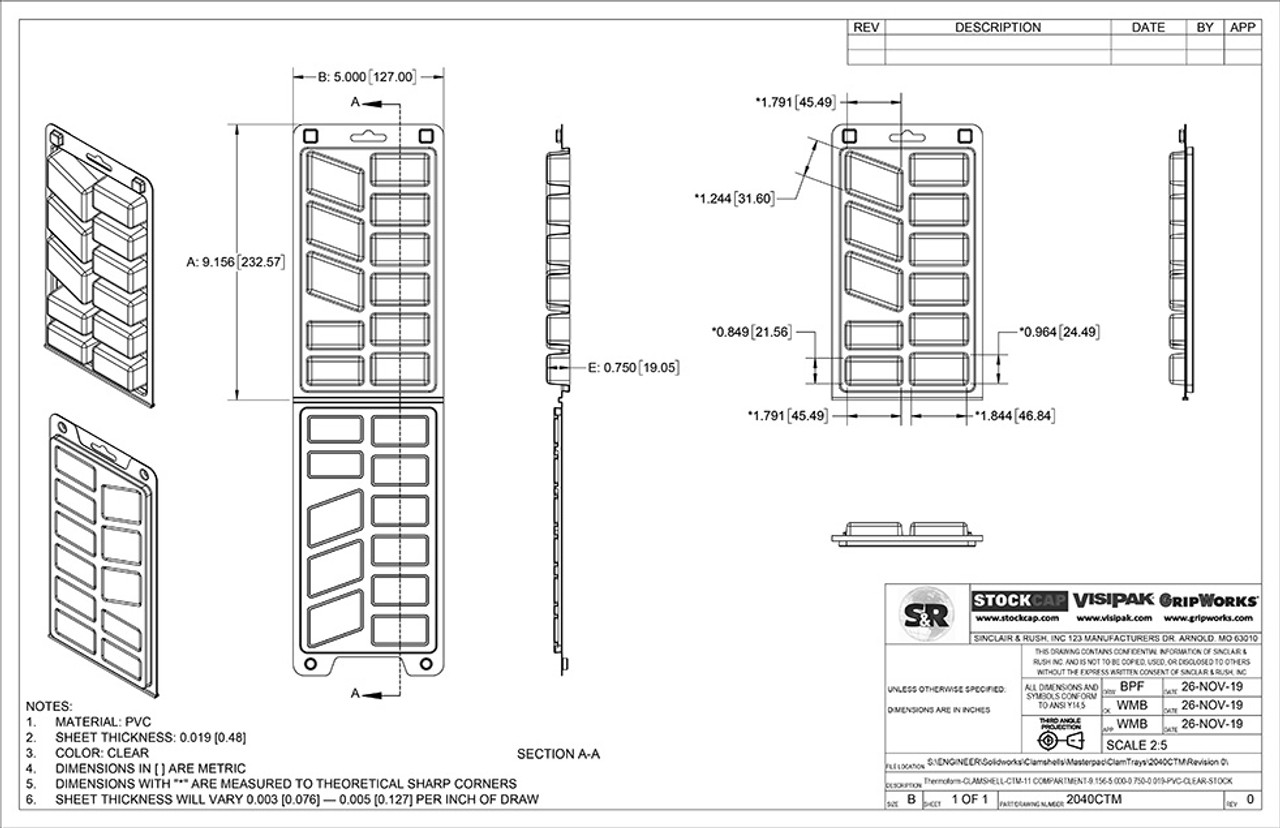 11 Compartment ClamTray Technical Drawing