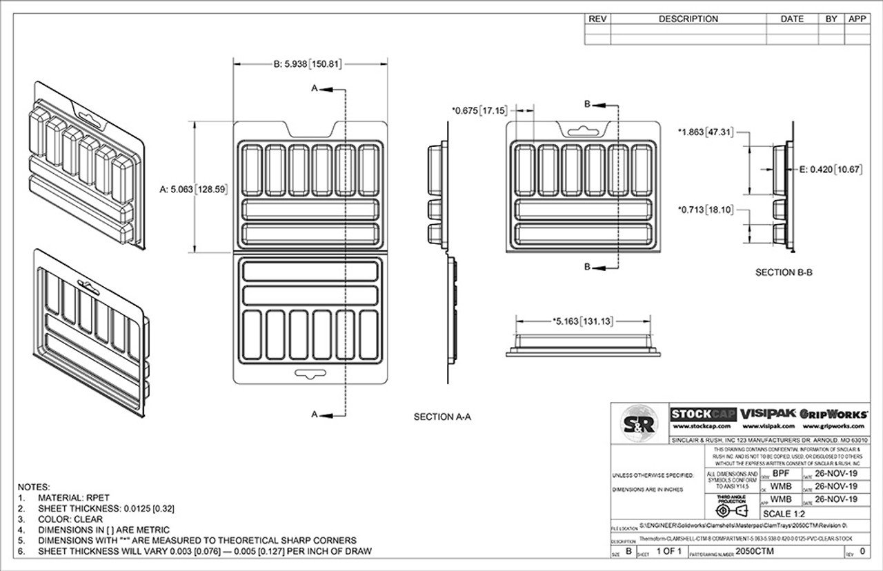 8 Compartment ClamTray Technical Drawing