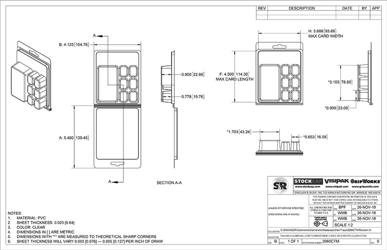 7 Compartment ClamTray Technical Drawing