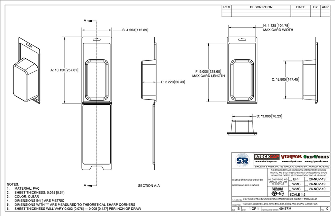Stock Clamshell 494TFM Technical Drawing