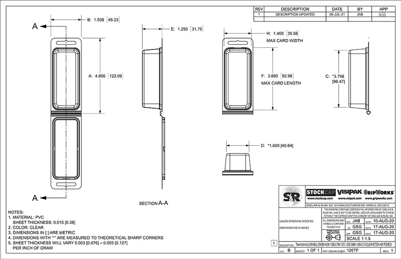 120TF - Stock Clamshell Packaging Technical Drawing