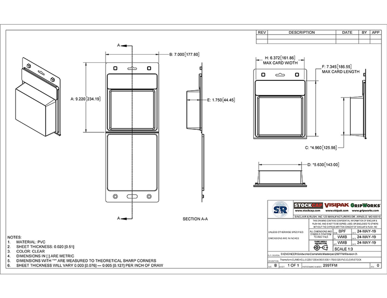 299TFM - Stock Clamshell Packaging Technical Drawing