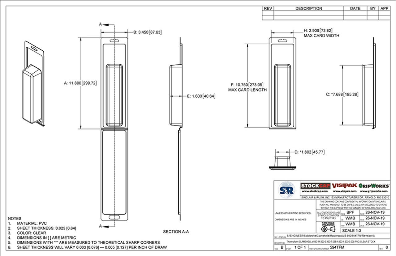 594TFM - Stock Clamshell Packaging Technical Drawing