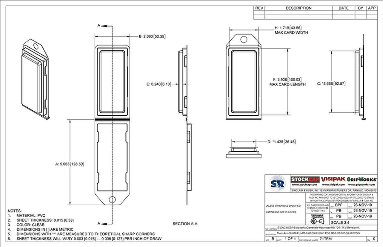 71TFM - Stock Clamshell Packaging Technical Drawing