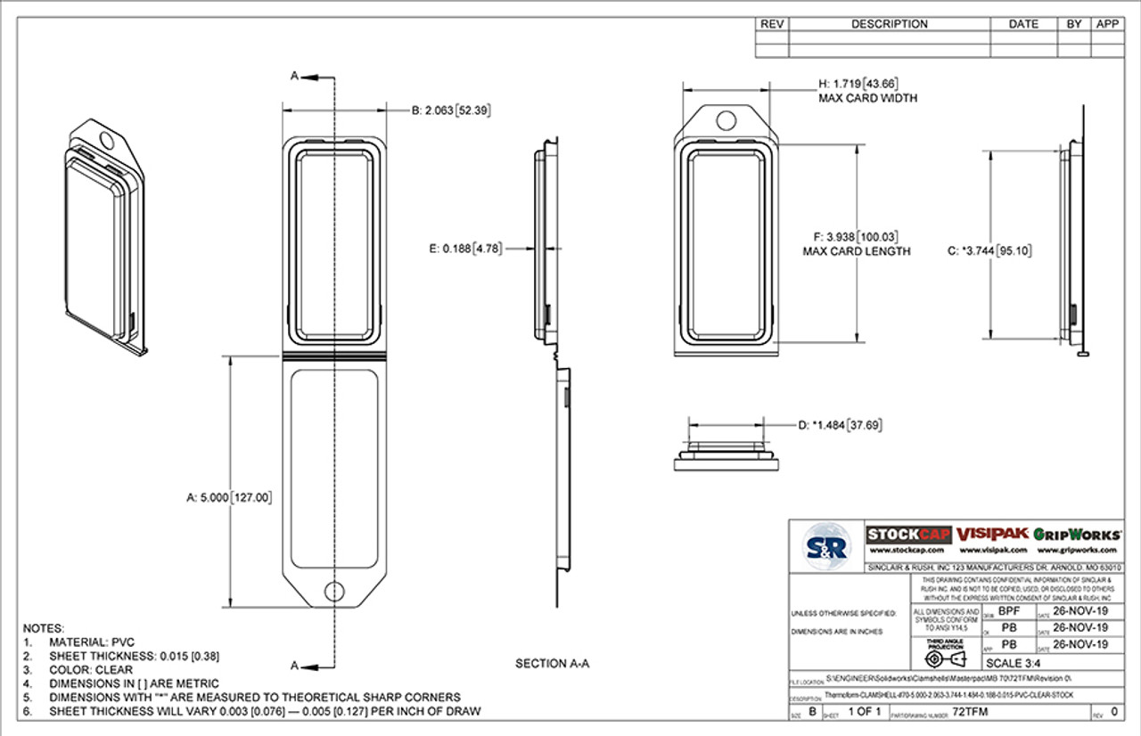 72TFM - Stock Clamshell Packaging Technical Drawing