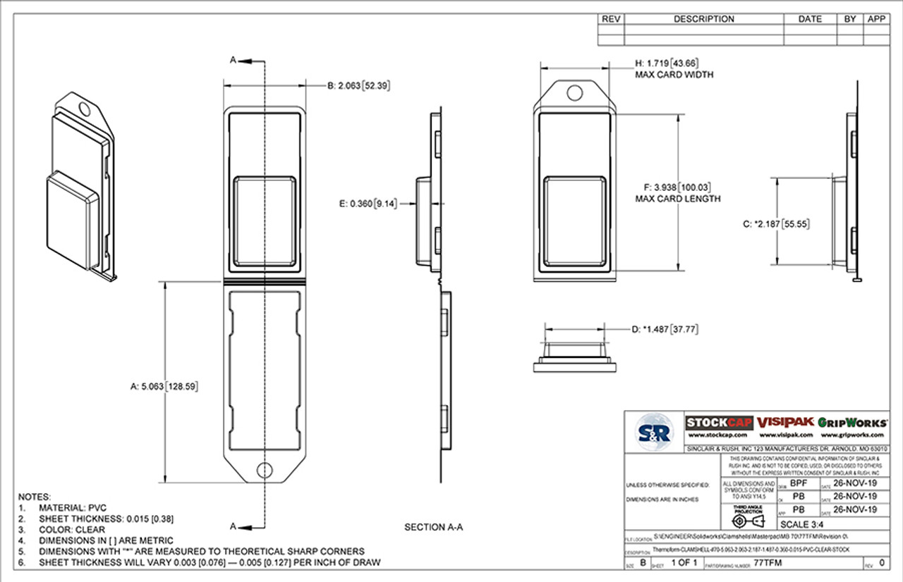 77TFM - Stock Clamshell Packaging Technical Drawing