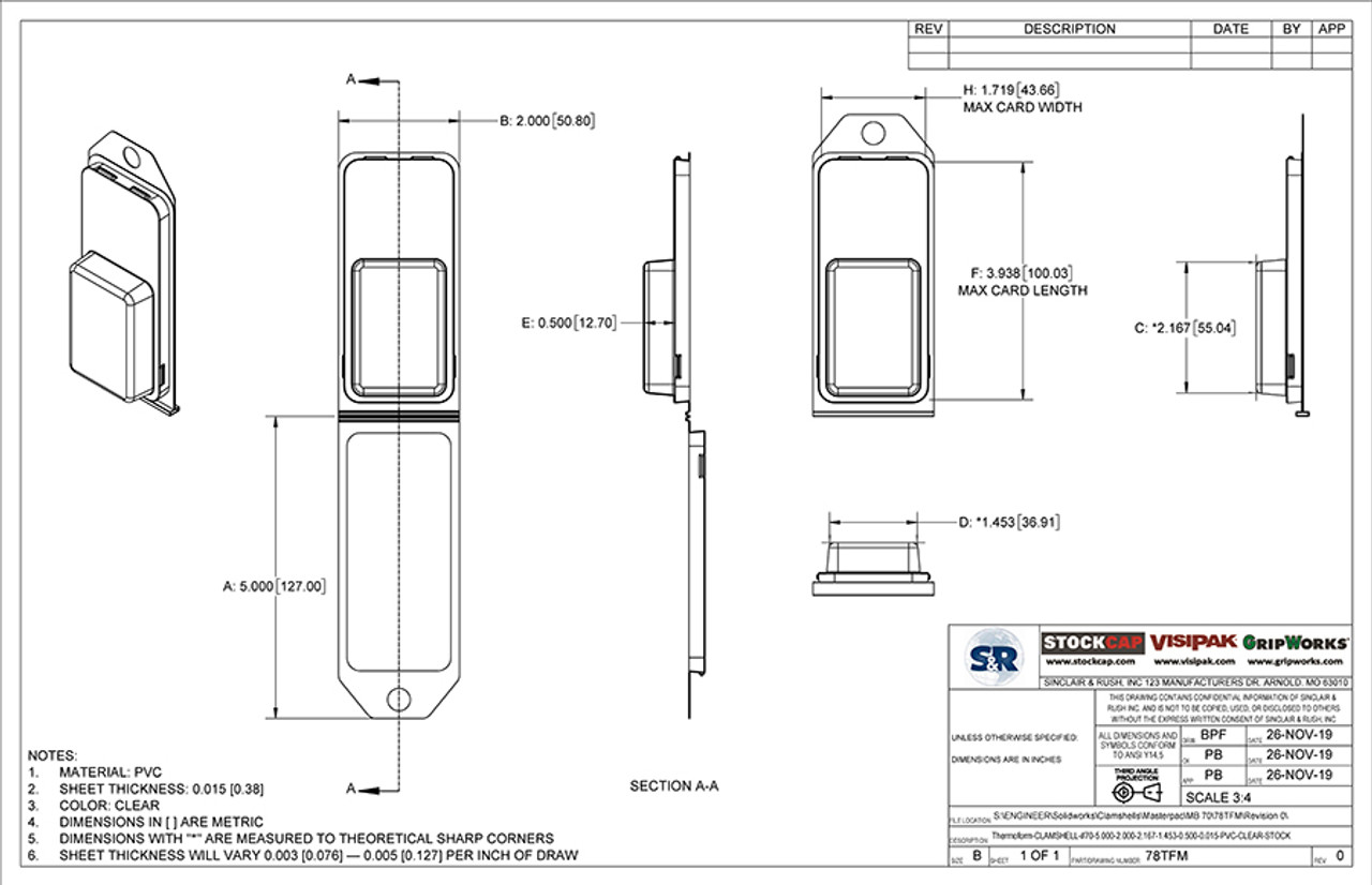 78TFM - Stock Clamshell Packaging Technical Drawing