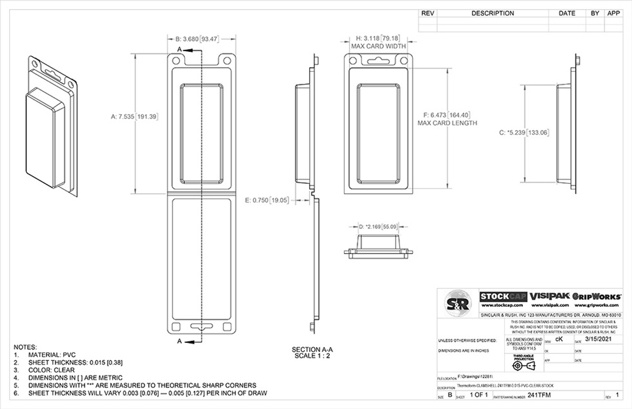 Stock Clamshell Packaging Technical Drawing