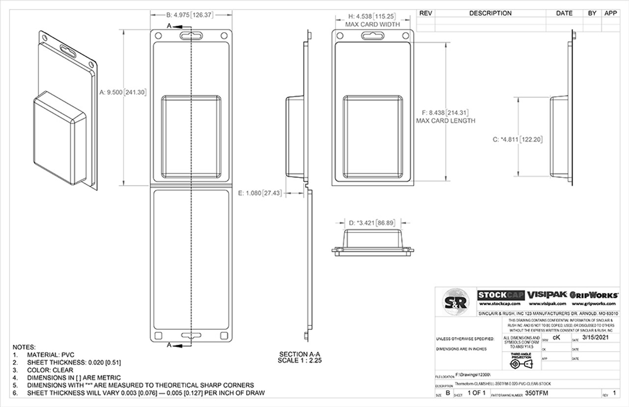350TFM Stock Clamshell Technical Drawing