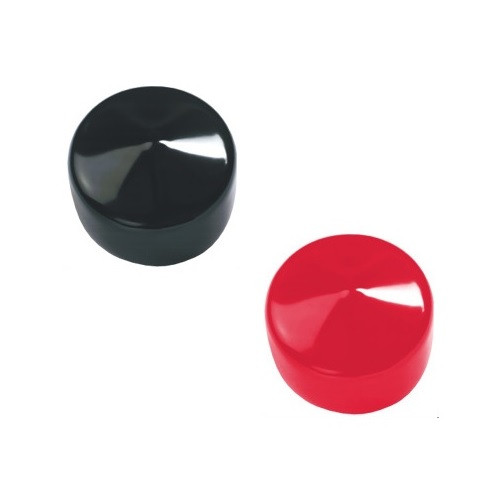 """1-1/2"""" x 1-1/2"""" Round Tuff Pak Cap - 529 in Red or Black"""