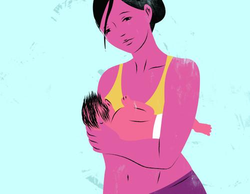 Illustration of a breastfeeding mother