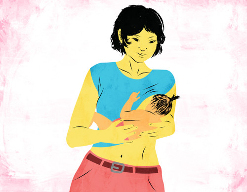 Illustration of a breastfeeding mom