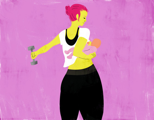 Illustration of a breastfeeding mother exercising