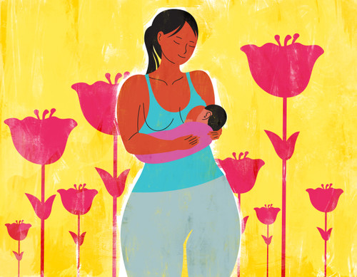 Illustration of a breastfeeding mother and flowers