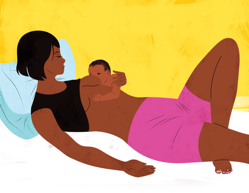 Illustration of a mother breastfeeding while in bed