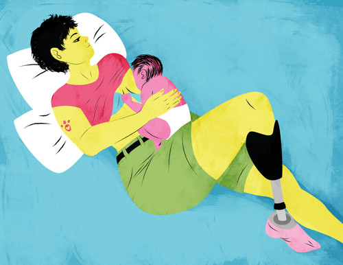 Illustration of an amputee mother breastfeeding while laid back