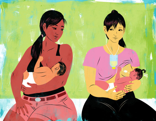 Two mothers breastfeeding, one with a supplementer