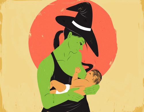Mother witch breastfeeding baby-halloween art