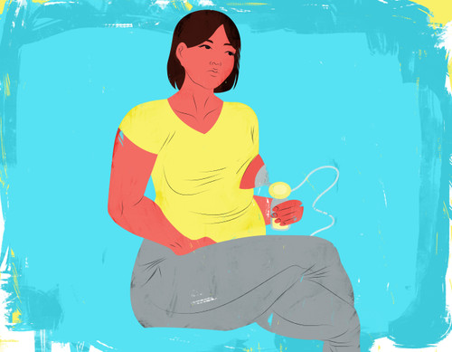 Illustration of a mother pumping milk and looking bored