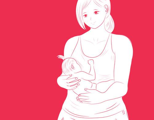 Manga illustration of a mother breastfeeding baby